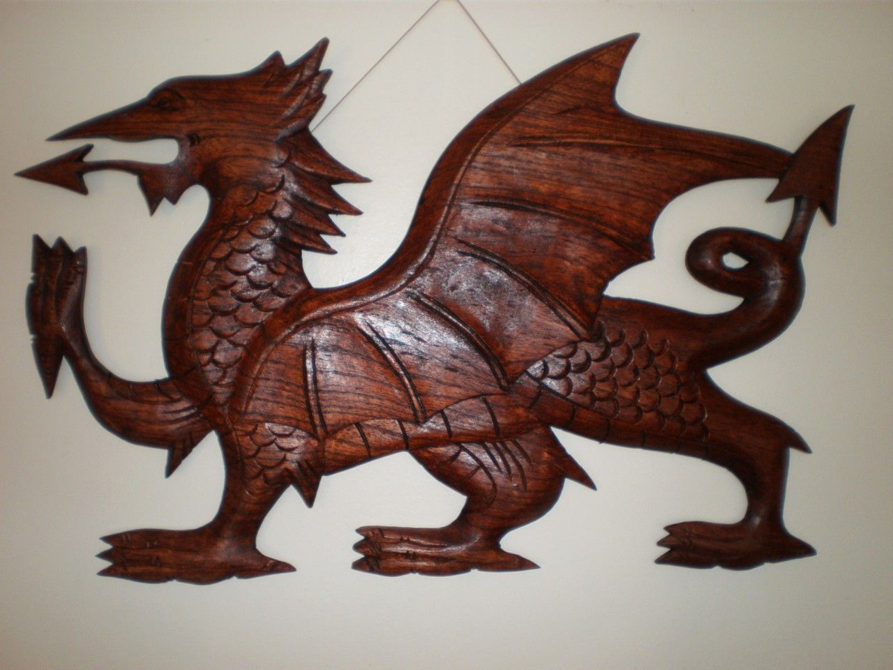 Medieval welsh dragon wall art decor hanging carving hand for Medieval decor