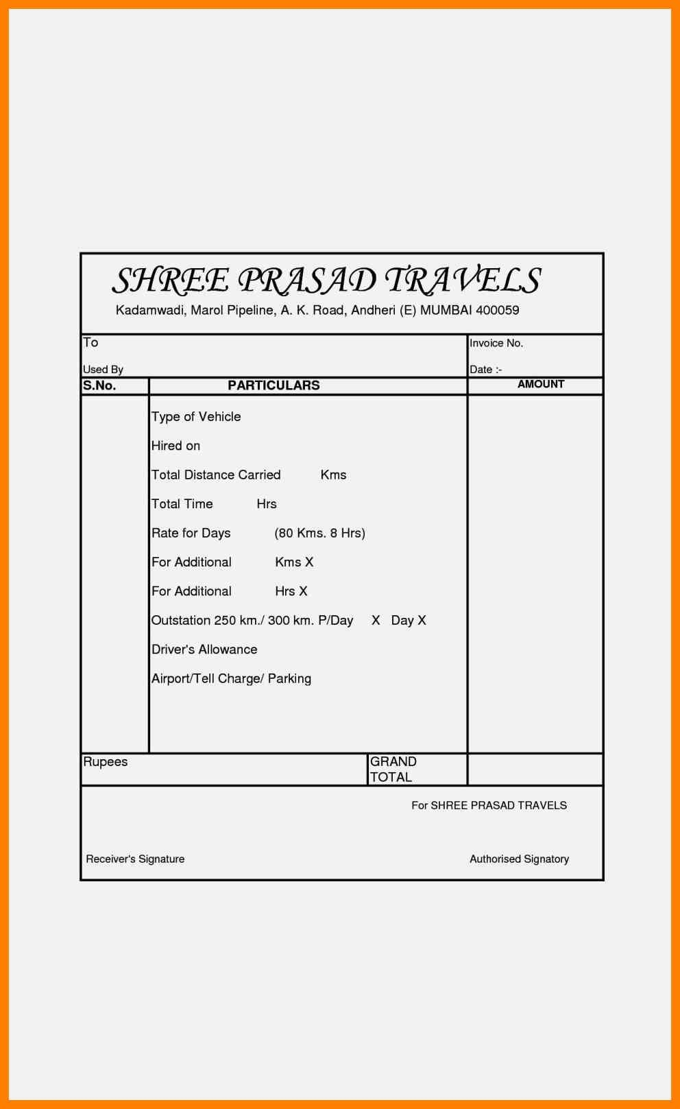 Bill Format Of Tour Travel Invoice Template Tours Travel