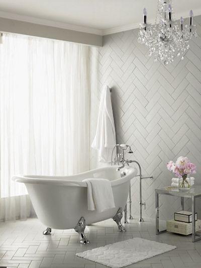 Bathroom inspiration - Claw foot tub and zigzag tiles. Found: http on bathroom designs corner bath tubs, bathroom renovations with claw tubs, bathroom alcove tub, small bathrooms with claw tubs, gardens with claw tubs,