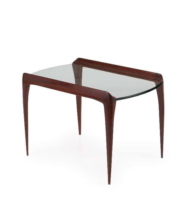 Max Ingrand; Mahogany and Glass Occasional Table for Fontana Arte, 1952.