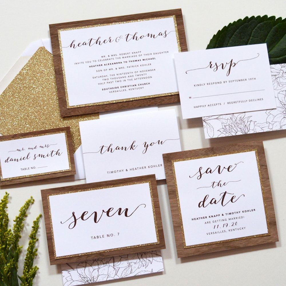 Rustic Wedding Invitation - Heather Wedding Invitation | Rustic ...