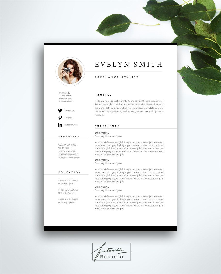 resume template cv template editable in ms word and by cvdesignco business cards welcome to fortunelle resumes in our shop you can get high quality modern and elegant cv templates that are drawn by professional designer