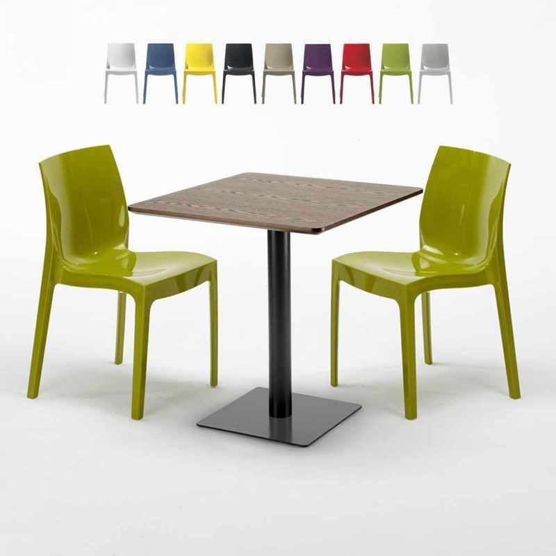 Table carrée 60x60 pied noir et plateau bois avec 2 chaises ...
