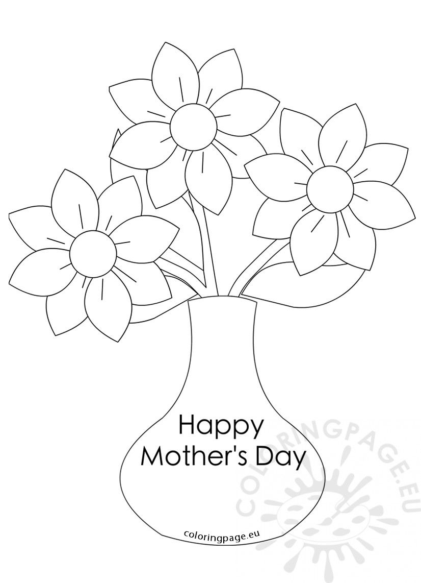 Mother\'s Day flowers Vase with three flowers | Coloring Page ...