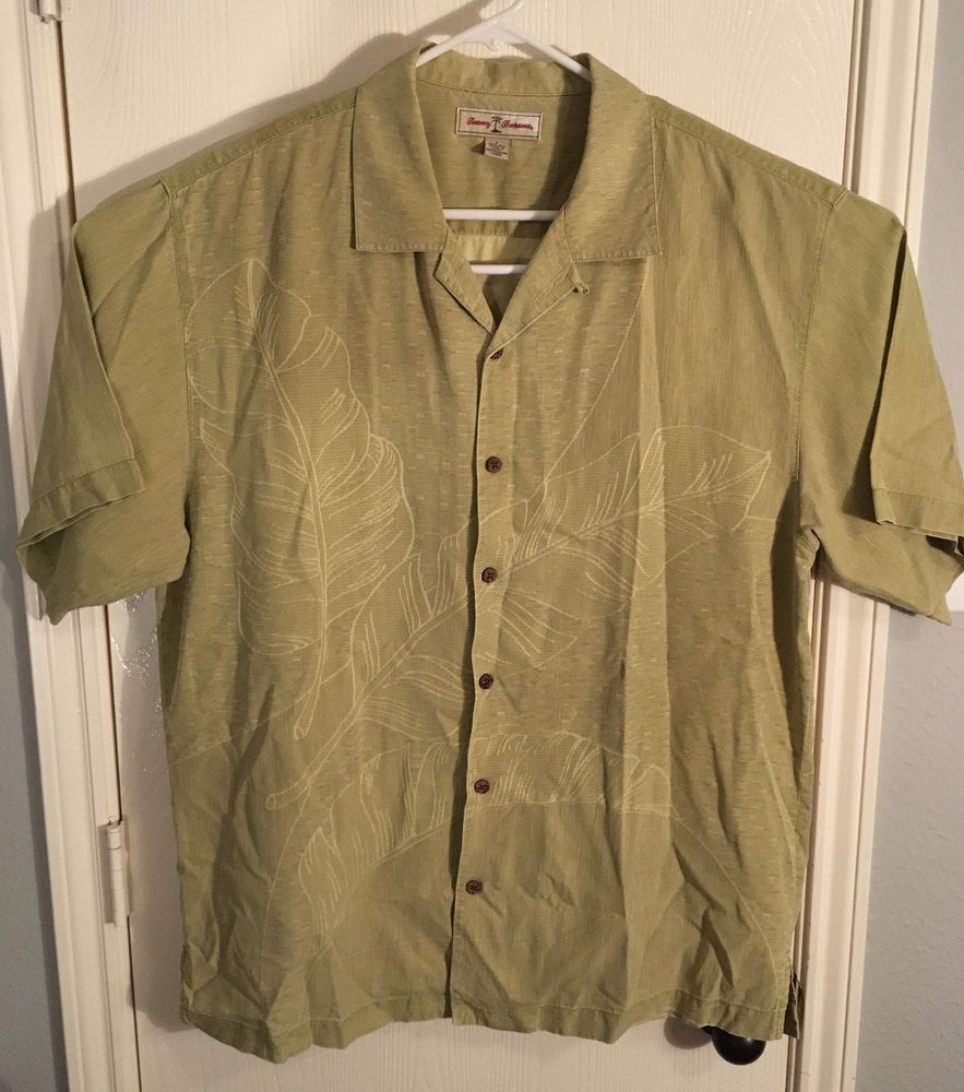 67dde1b1491914 Tommy Bahama Mens Large Button Up Short Sleeve Floral Light Green Silk Shirt   fashion  clothing  shoes  accessories  mensclothing  shirts (ebay link)
