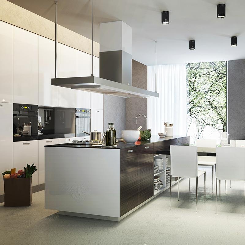 Hottes Ilot Pour Des Cuisines Design Et Fonctionnelles Blog But Cuisine Contemporaine Decoration Cuisine Moderne Hotte Ilot