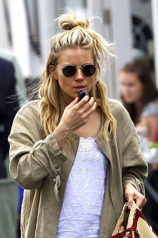 10 Le Fashion Blog 19 Ways To Wear A Half Up Top Knot Bun Blonde Hair Sienna Miller Via Pop Sugar photo 10-Le-Fashion-Blog-19-Ways-To-Wear-A...