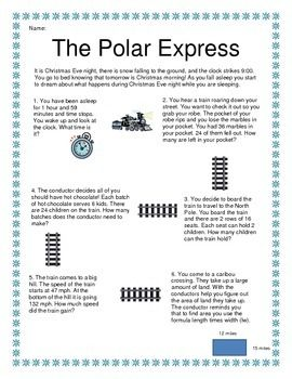 The Polar Express Problem Solving Polar Express Solving Word Problems Snow Math Activities