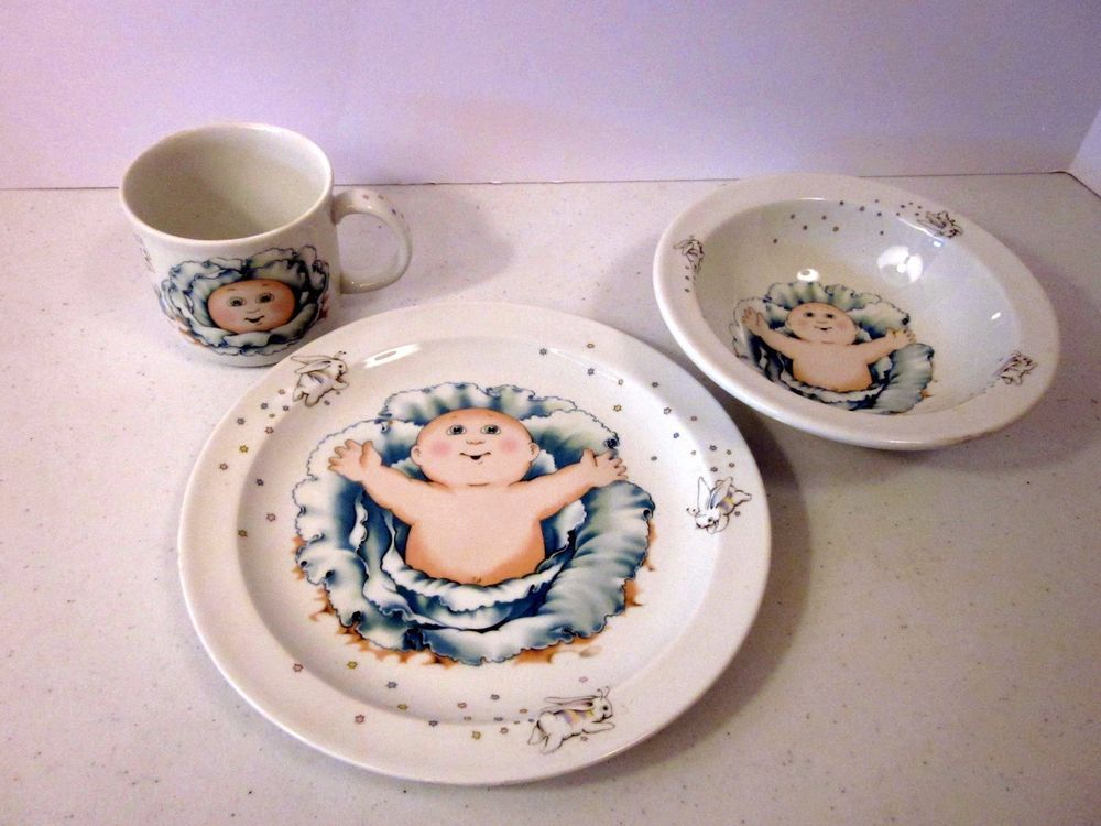 Vtg Cabbage Patch Kids Dishes Royal Worcester Porcelain 1984 Plate Bowl Mug Cup Kids Dishes Cabbage Patch Kids Mug Cup