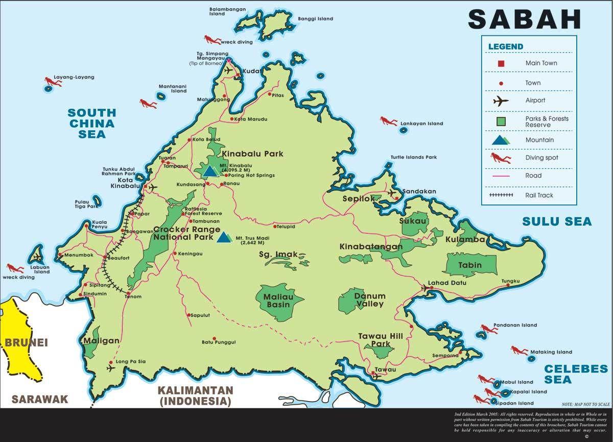 Bornéo : carte géographique Sabah Sarawak Kalimantan | 2017