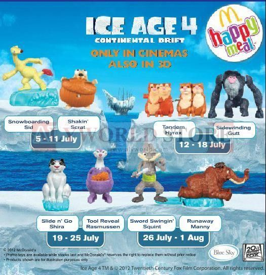Mcdonald Happy Meal Toys Ice Age 4 Continental Drift Completed Set 8 Seal Toys Hobby Bugslock Detox Foo Happy Meal Toys Happy Meal Mcdonalds Happy Meal