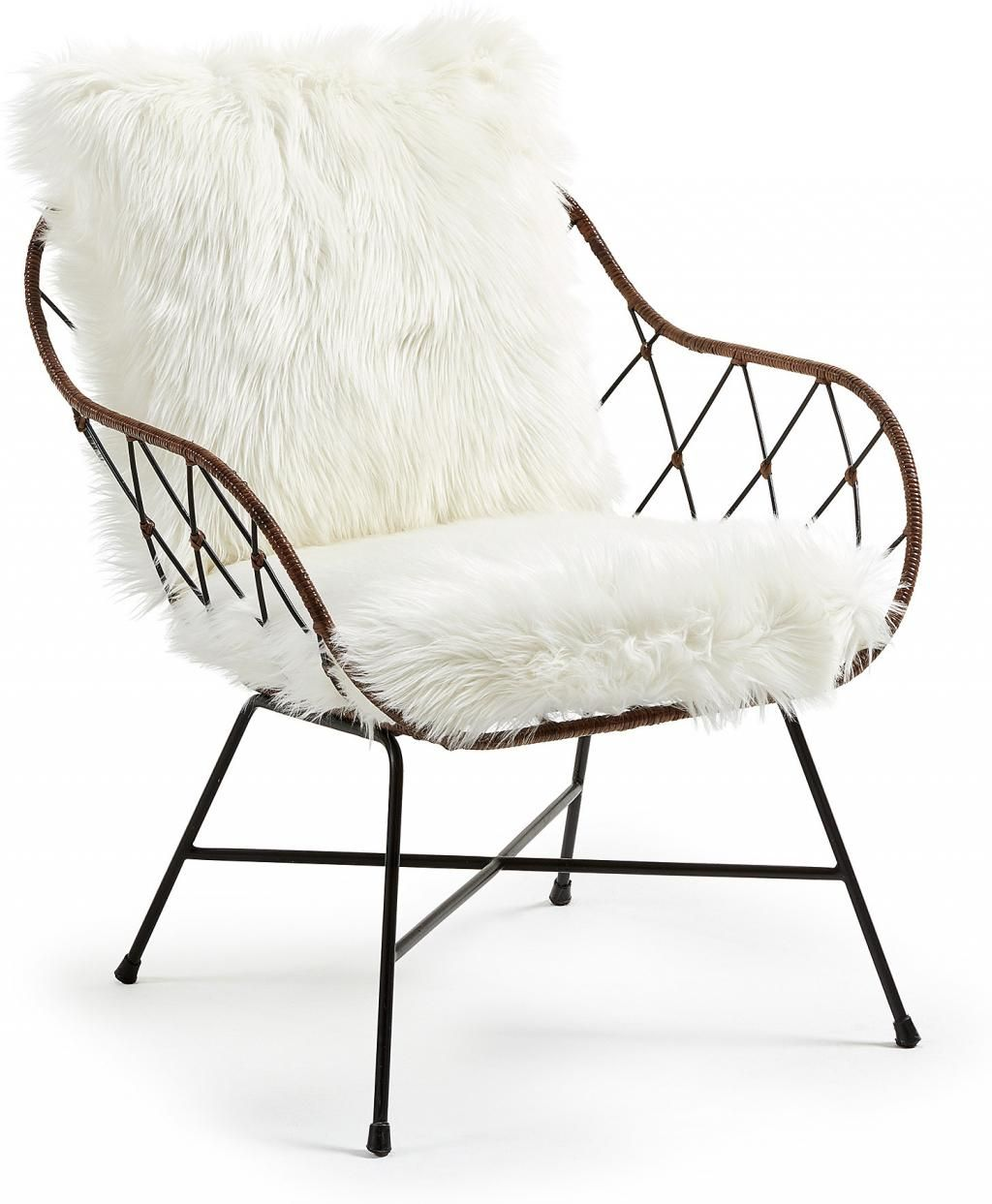 Spagetti Sessel Claque Armchair Metal Black Rattan Fake Fur White Sessel