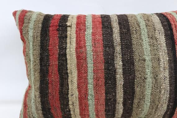 Turkish Kilim Pillow, 16x24 Natural Pillow, Covers Pillow, Red Pillow, Outdoor Pillow, Striped Pillo
