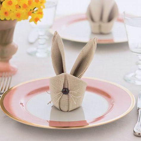 Tischdeko Ostern Servietten Selber Falten Hasenohren Teller