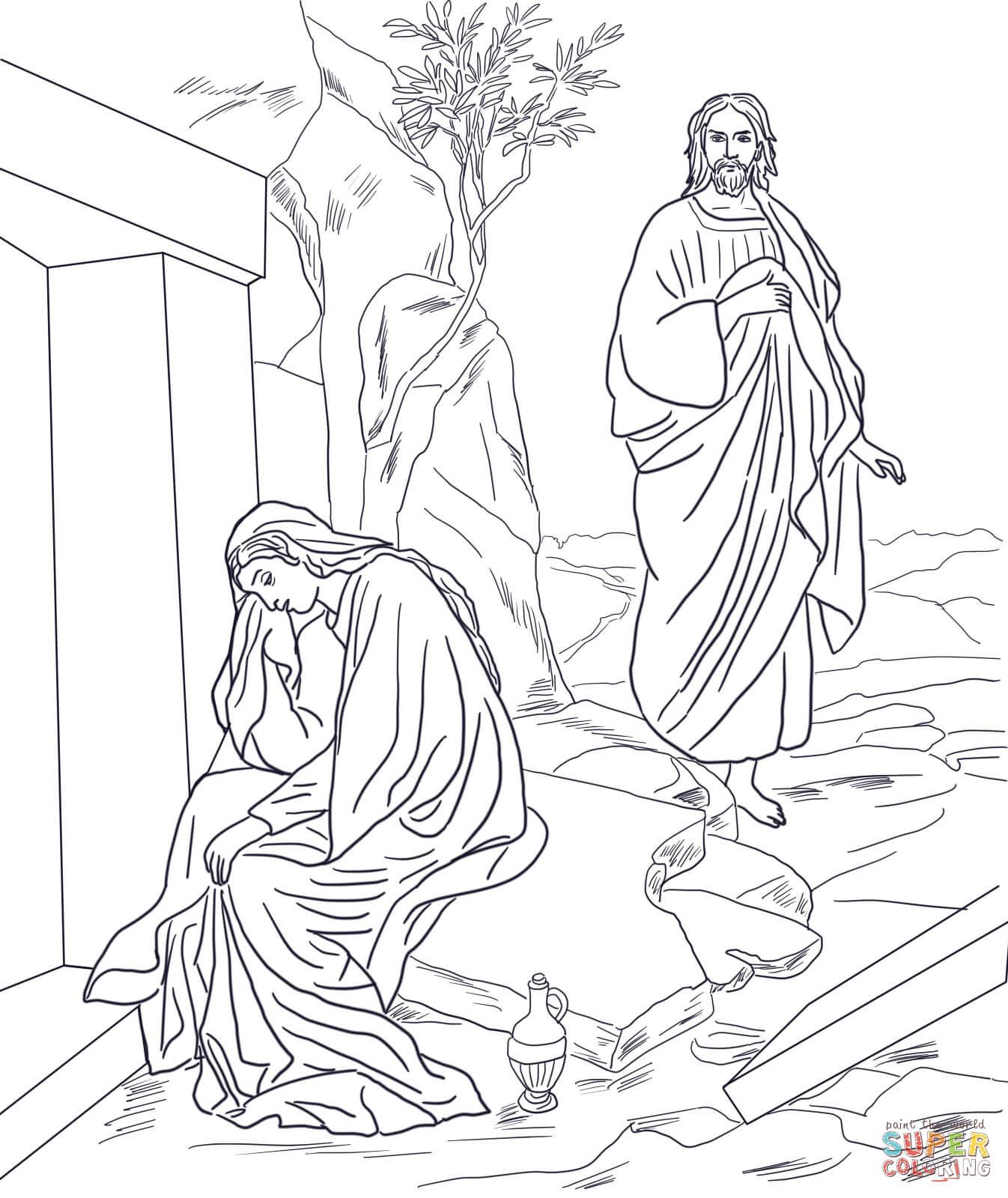 Jesus Appears To Mary Magdalene After Resurrection Coloring Page From Category Select 21312 Printable Crafts Of Cartoons Nature