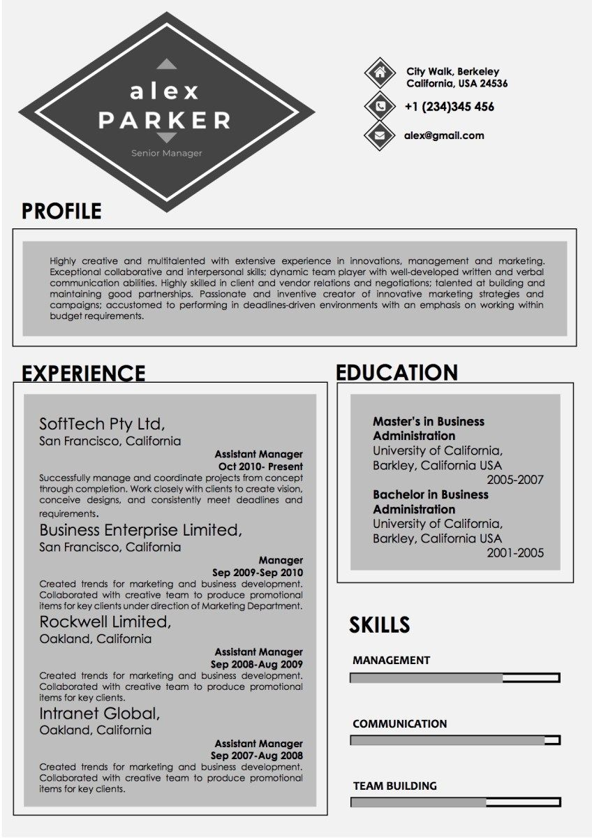 professional grey and black color resume word resume templates