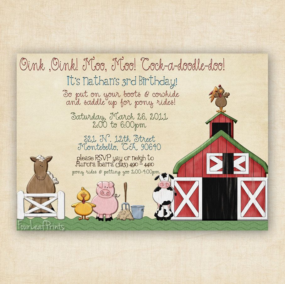Barnyard Animal Farm Fun -Shower Invitation | baby shower ...