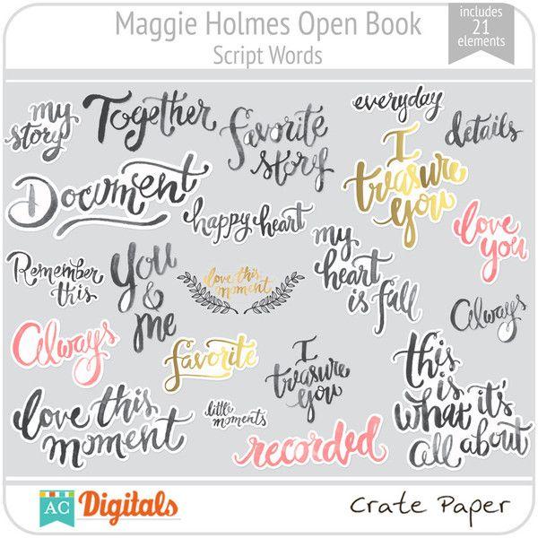 Maggie Holmes Open Book Script Words Open Book Travel Scrapbook
