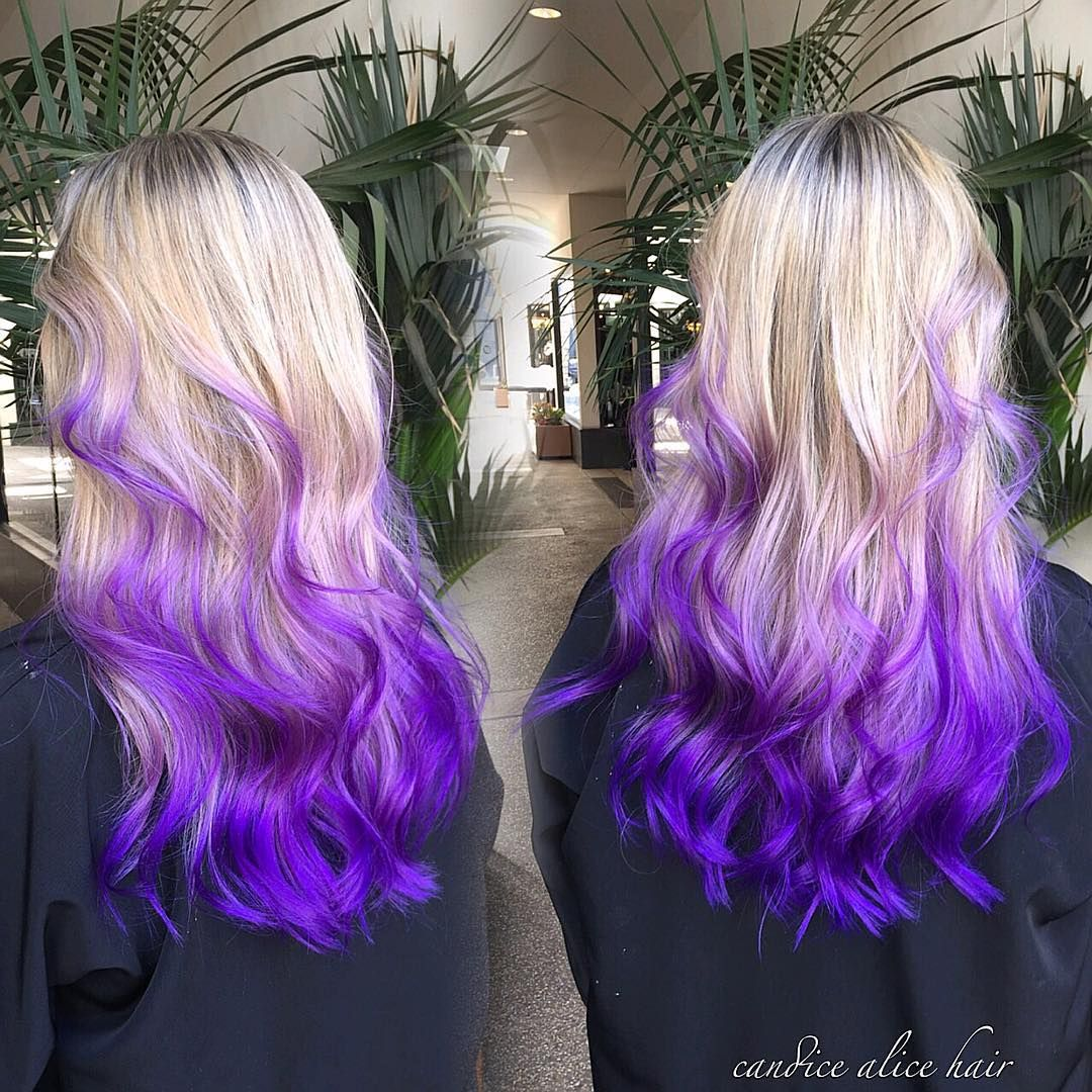 Blonde To Purple Ombre Pravana Hair Dye Dyed Hair Purple Bright