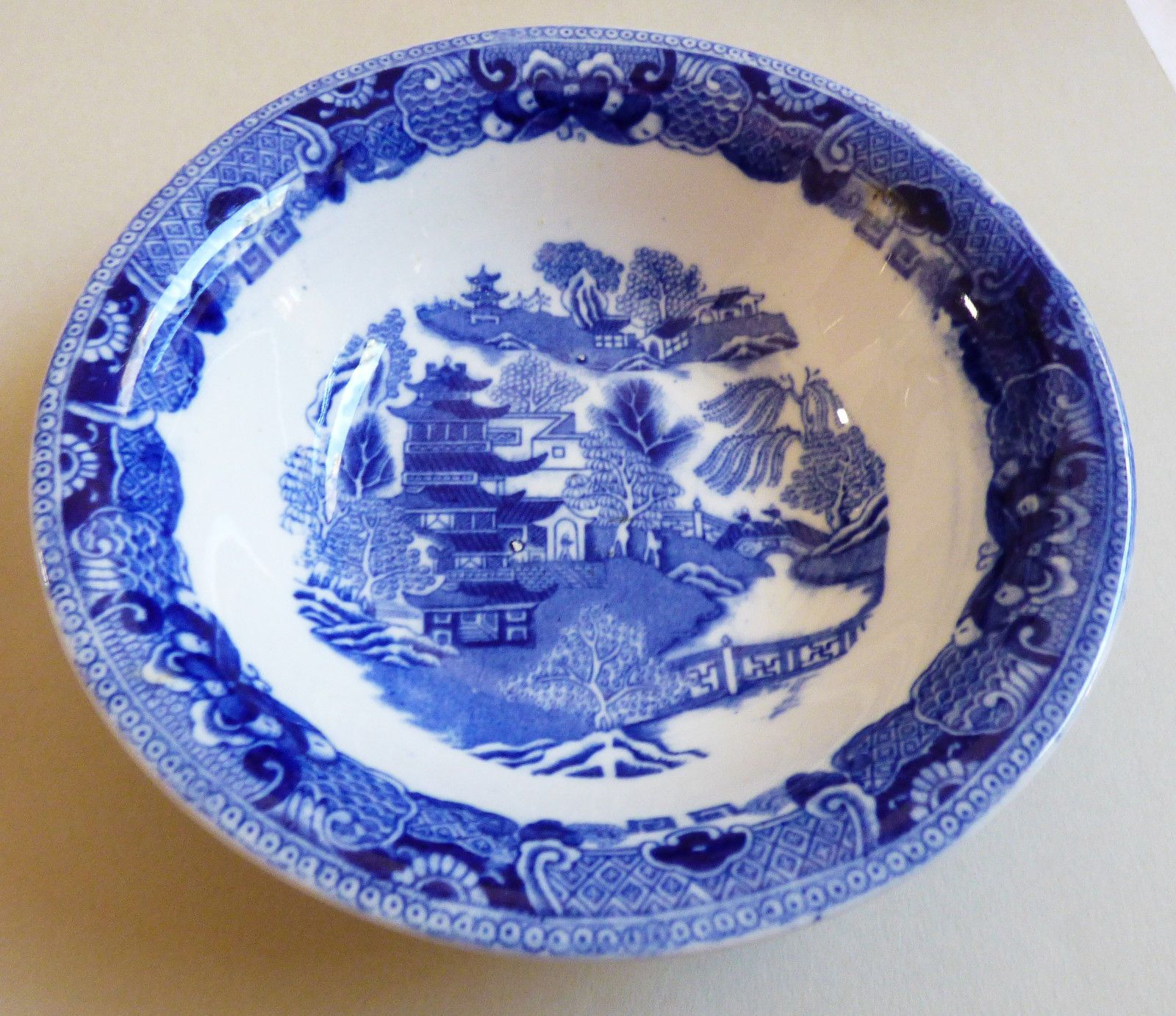VTG Semi China W. Ridgway Blue Willow 6.5  cereal Bowl Made England & VTG Semi China W. Ridgway Blue Willow 6.5