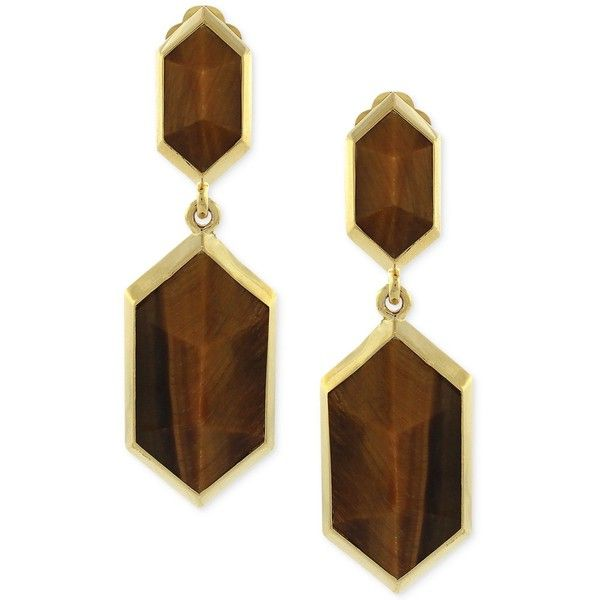 Vince Camuto Gold Tone Brown Stone Drop Clip On Earrings