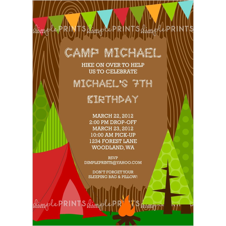 Camping Boy Printable Invitation Boy Printable