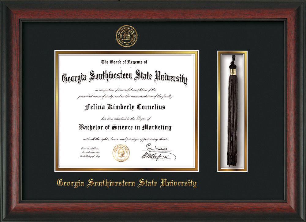 Georgia Southwestern State University Diploma Frame Rosewood W Embossed Seal Name Tassel Holder Black On Gold Mat Diploma Frame Frame University Diploma