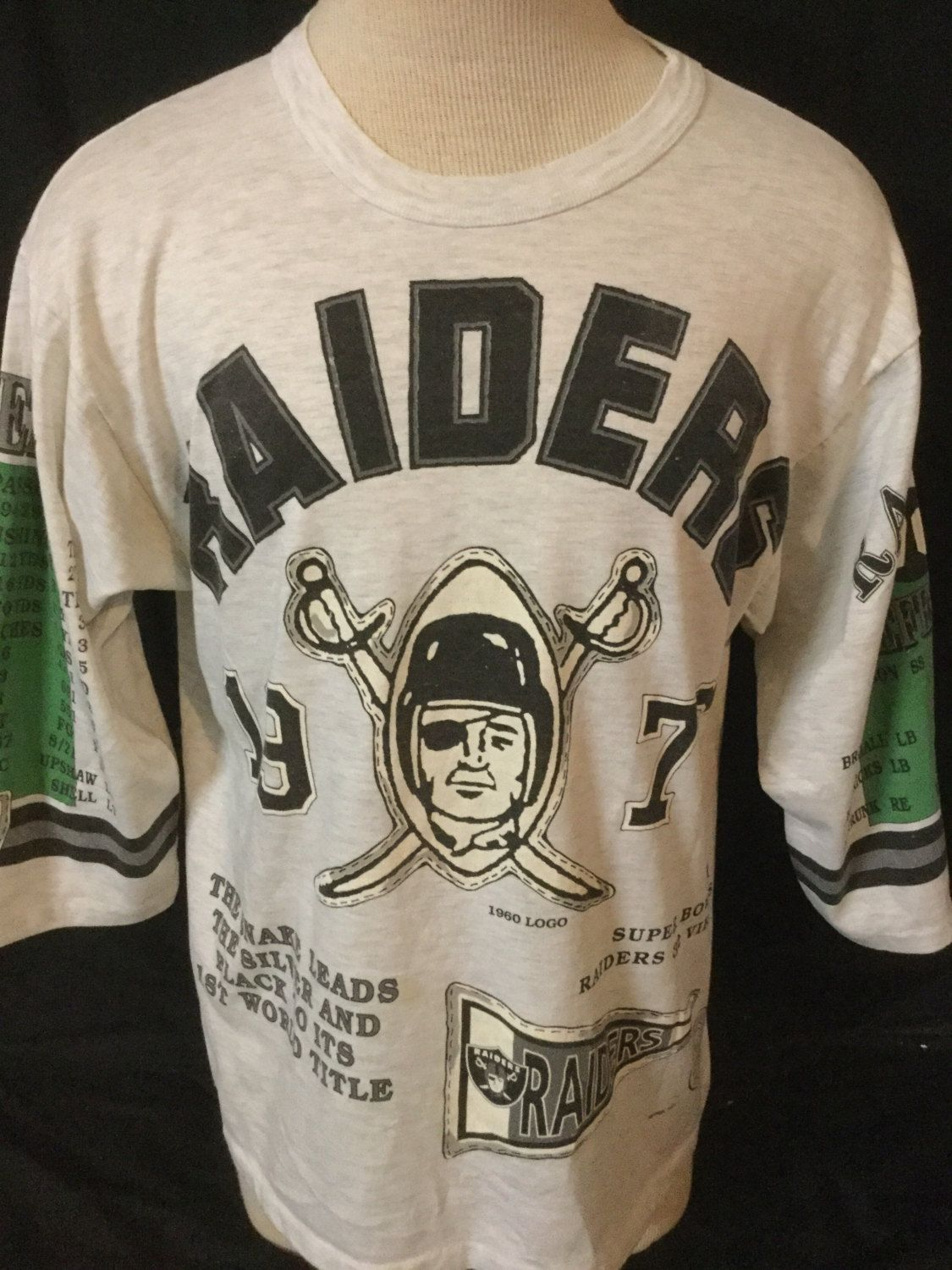 8cc7d106 Vintage 1990's Oakland Raiders Commerative Shirt 1976 Jersey T-Shirt ...