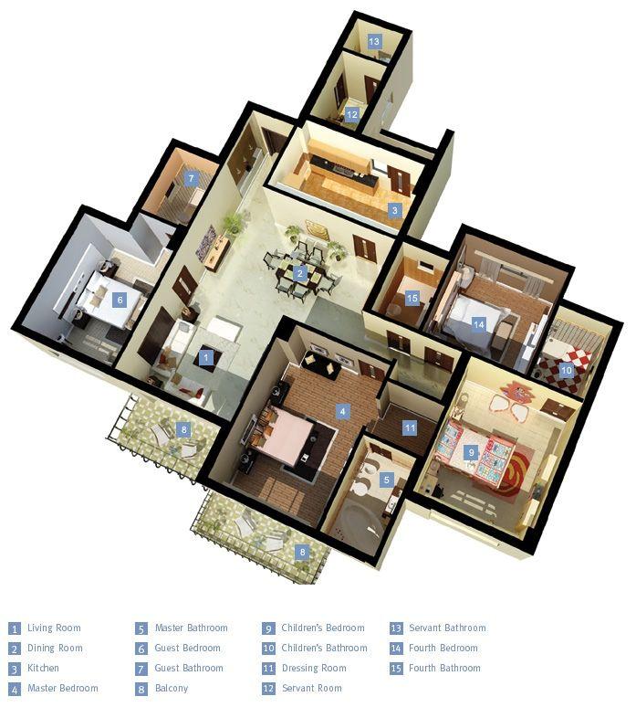 "4 Bedroom Apartment Floor Plans: 50 Four ""4"" Bedroom Apartment/House Plans"