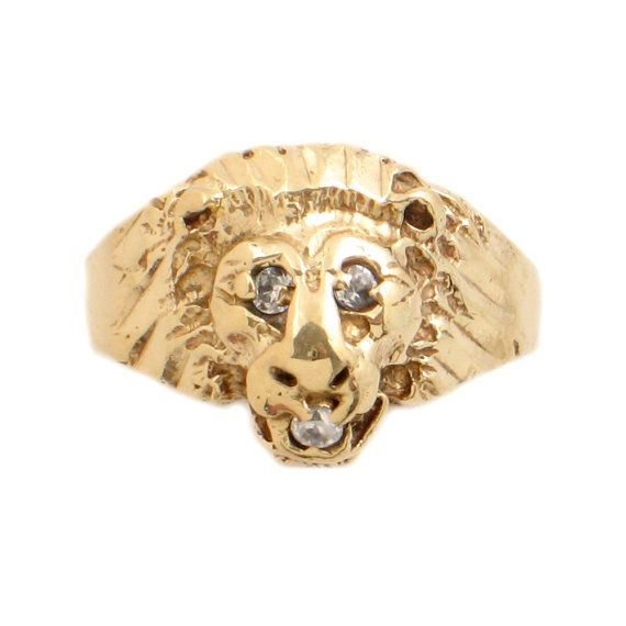 10k Gold Lion 39 S Head Ring With 3 Stones Victorian Revival Style Lion Head Ring Or Men 39 S Pinky Ring Si Head Ring Mens Pinky Ring Ladies Silver Rings