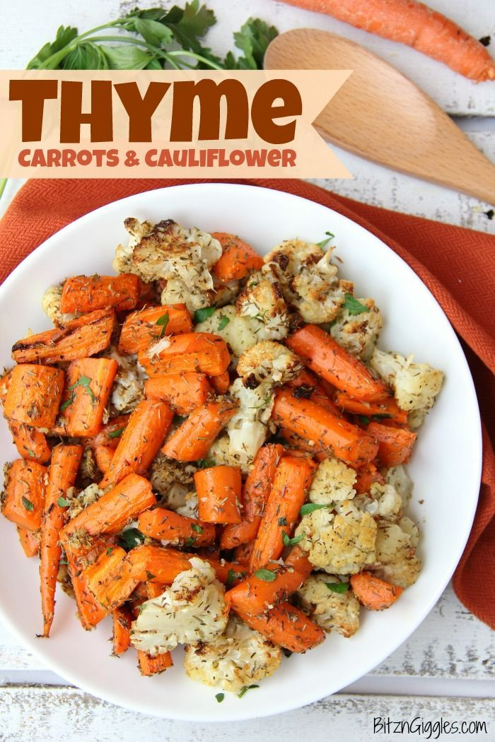 Thyme Carrots & Cauliflower - Carrots and cauliflower tossed with thyme and roasted to perfection! #bitzngiggles #carrots #cauliflower #roasted #vegetables #side #sidedish #thyme