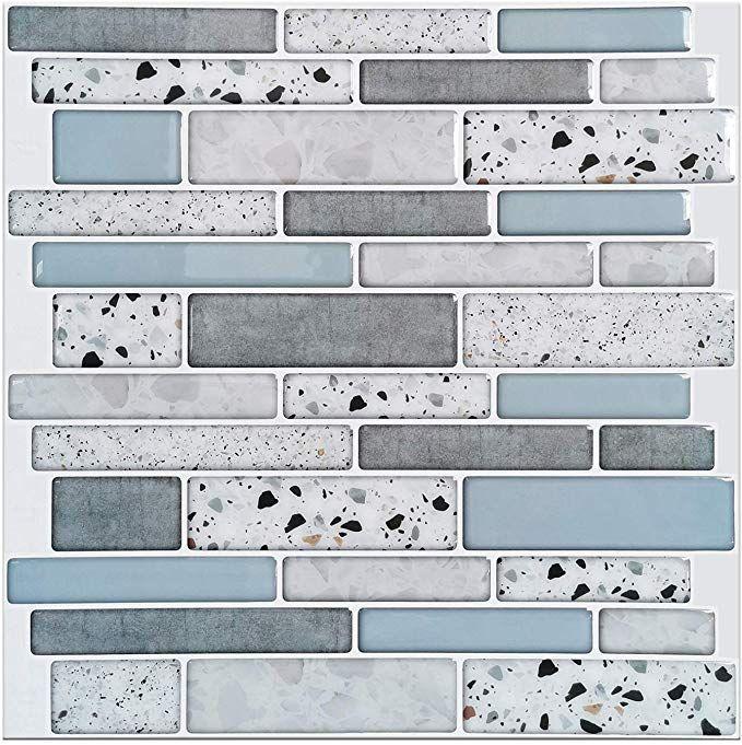 12 In X 12 In Grey Peel And Stick Wall Tile Backsplash For Kitchen 10 Pack Stick On Tiles Tile Backsplash Kitchen Wall Tiles