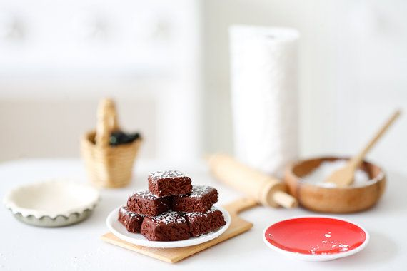 Miniature Chocolate Brownies for Barbie and Blythe by puttering, $7.50