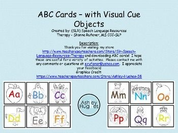 Abc Cards With Visual Cue Objects Abc Cards Cue Cards Phonological Awareness Activities