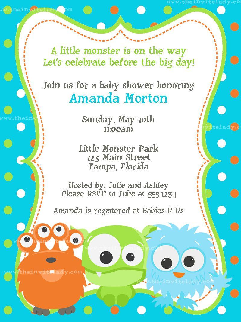 Lil Monster Baby Shower Invitation Little Monsters Baby Shower
