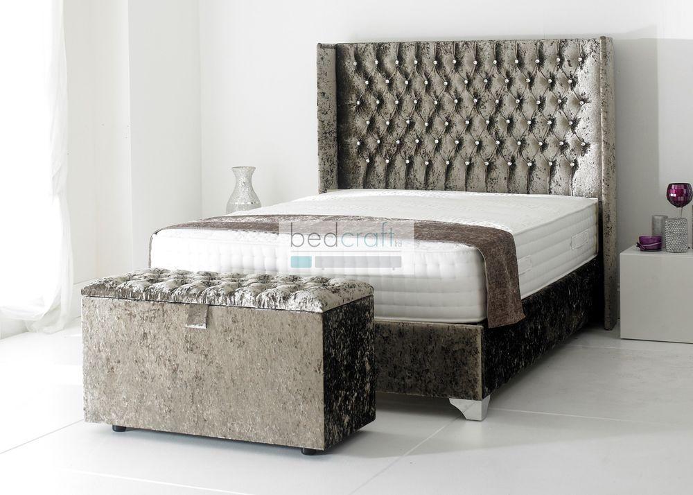 wingback upholstered bed frame chesterfield style crushed velvet brown silver in home furniture diy