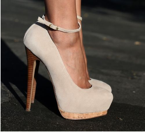 giuseppe zanotti suede ankle strap pumps with cork platform and stacked wood heels. #shoeporn