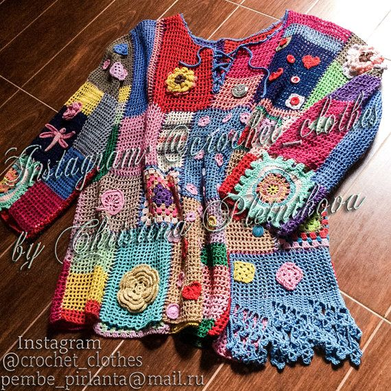 Crochet Top Colorful Boho Tunic Bohemian Gypsy Freeform Patchwork