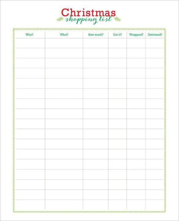 Free Printable Christmas Shopping List Download , 24+ Christmas Wish ...