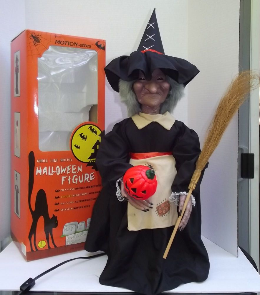 1987 Telco Motionette Animated Light Up 24 inch Witch Halloween Decoration