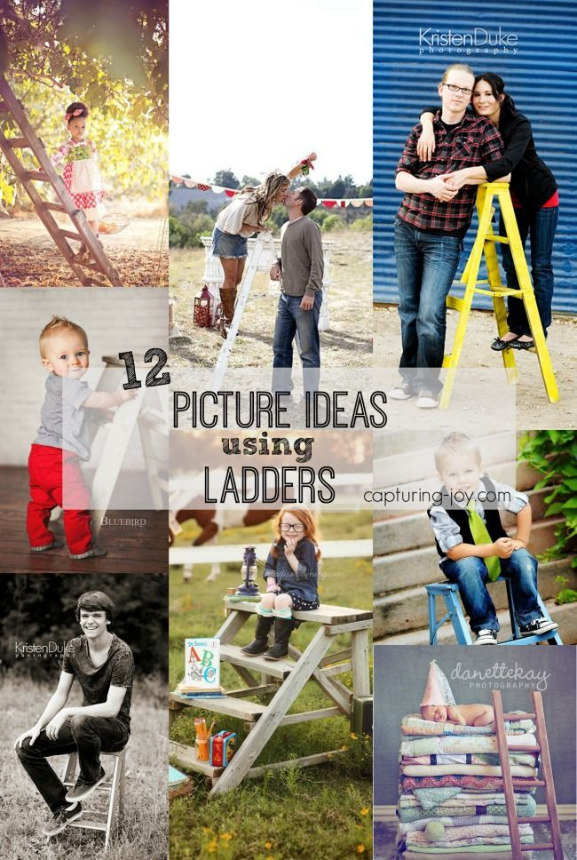 Family Pictures Using A Ladder