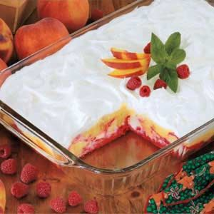 Fresh Peaches With Jello Cool Whip And Angel Food Cake