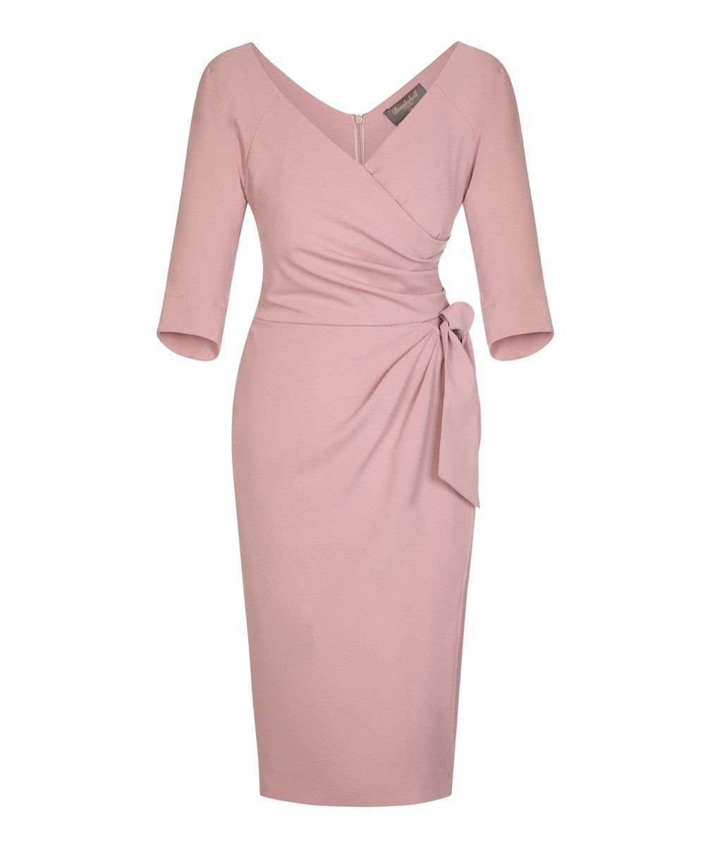 b394ac17f249 Nigella Dress in Cinder rose | The Original Nigella Lawson Dress - 3/4  sleeve moss crepe sarong wrap dress pink wrap sarong dress with sleeves  wedding guest ...