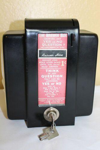 Vintage 1950 S The Answer Box Napkin Dispenser 1 Cent