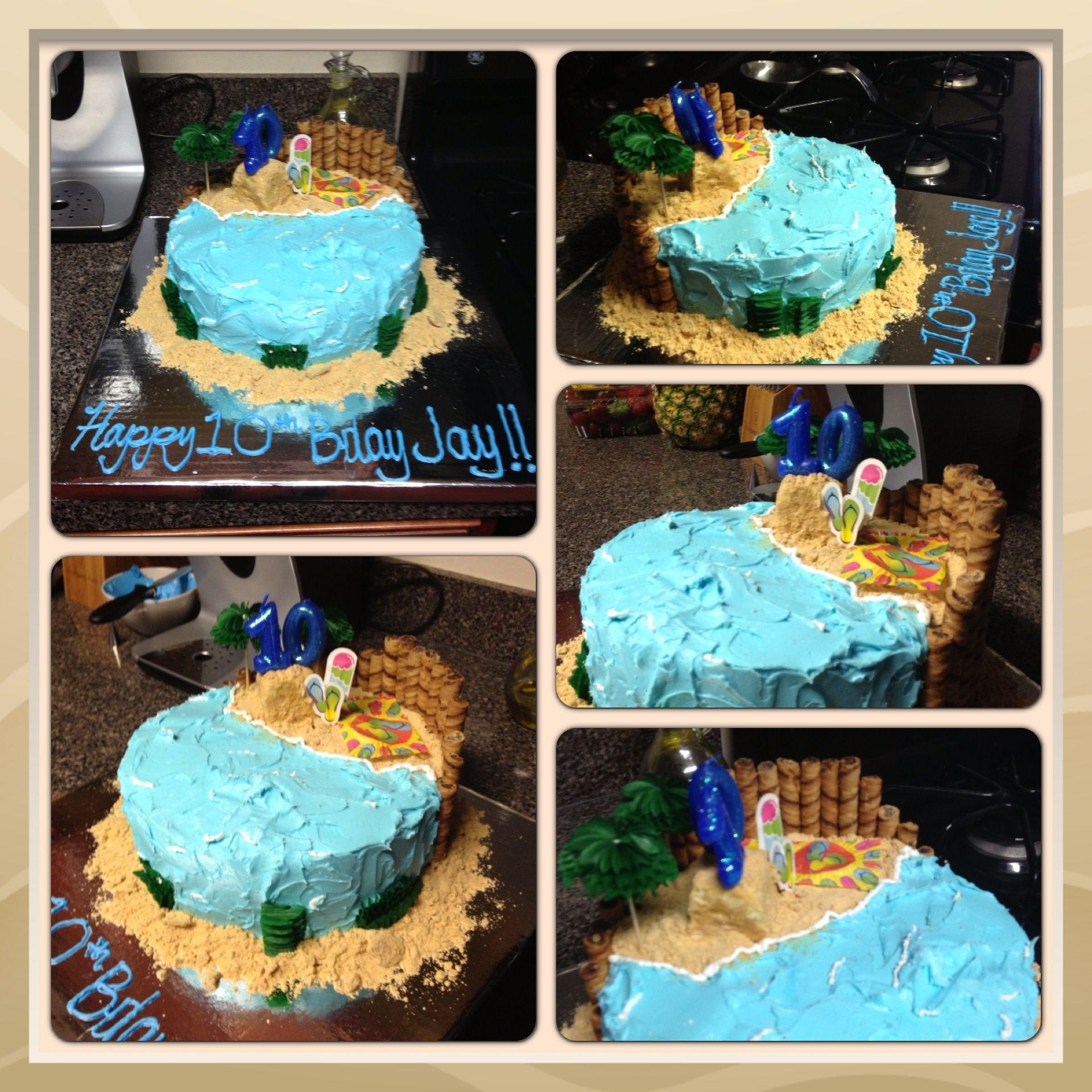 Homemade yellow cake mixed with white chocolate pudding beach