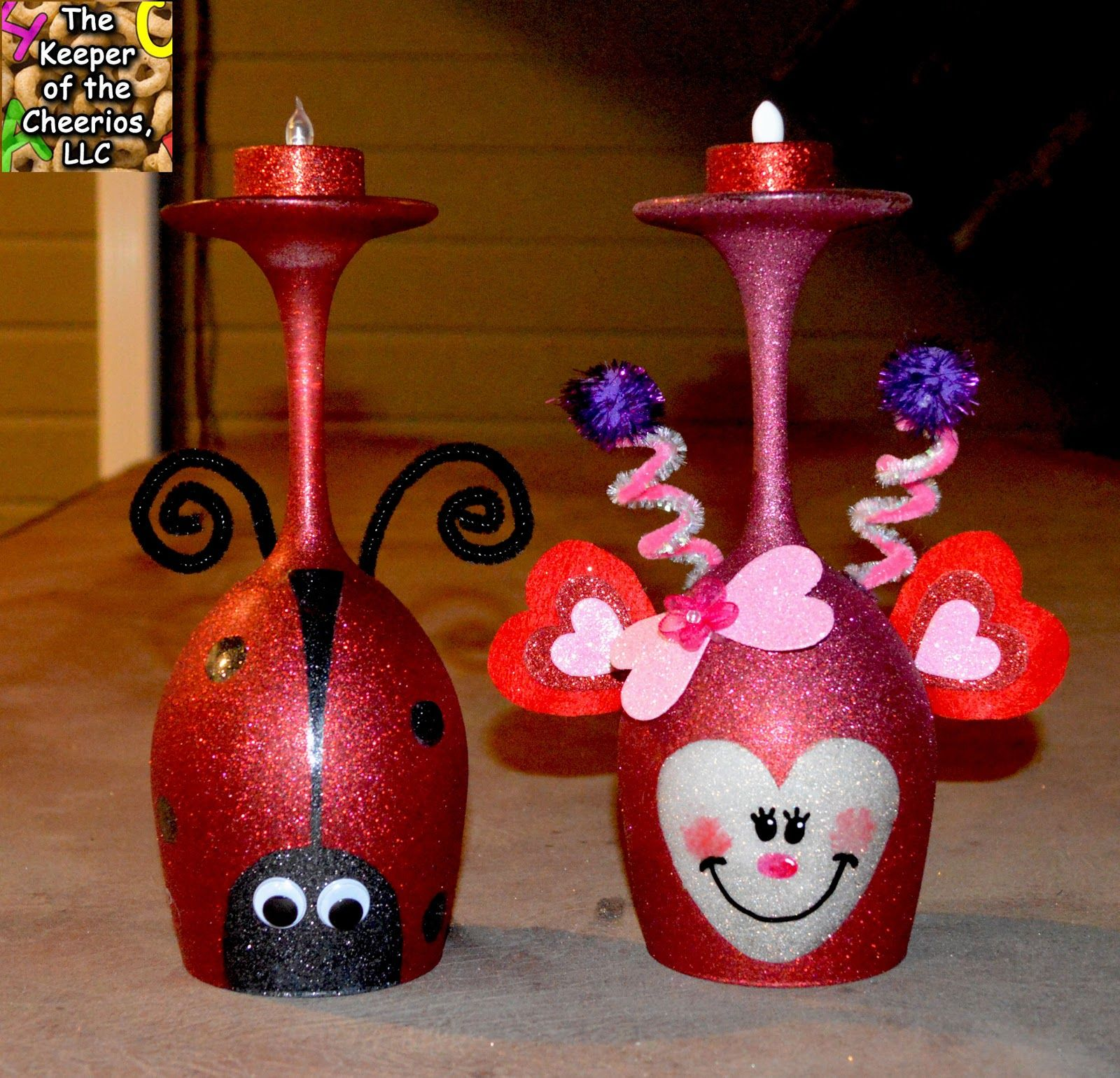 Love Bug And Lady Bug Wine Glass Candle Holders The Keeper Of The Cheerios Wine Glass Crafts Bottle Crafts Diy Valentine S Ornaments