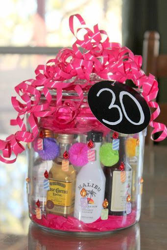 Mini Liquor Bottle DIY Gift - this particular diy gift was made for  someone's 30 surprise