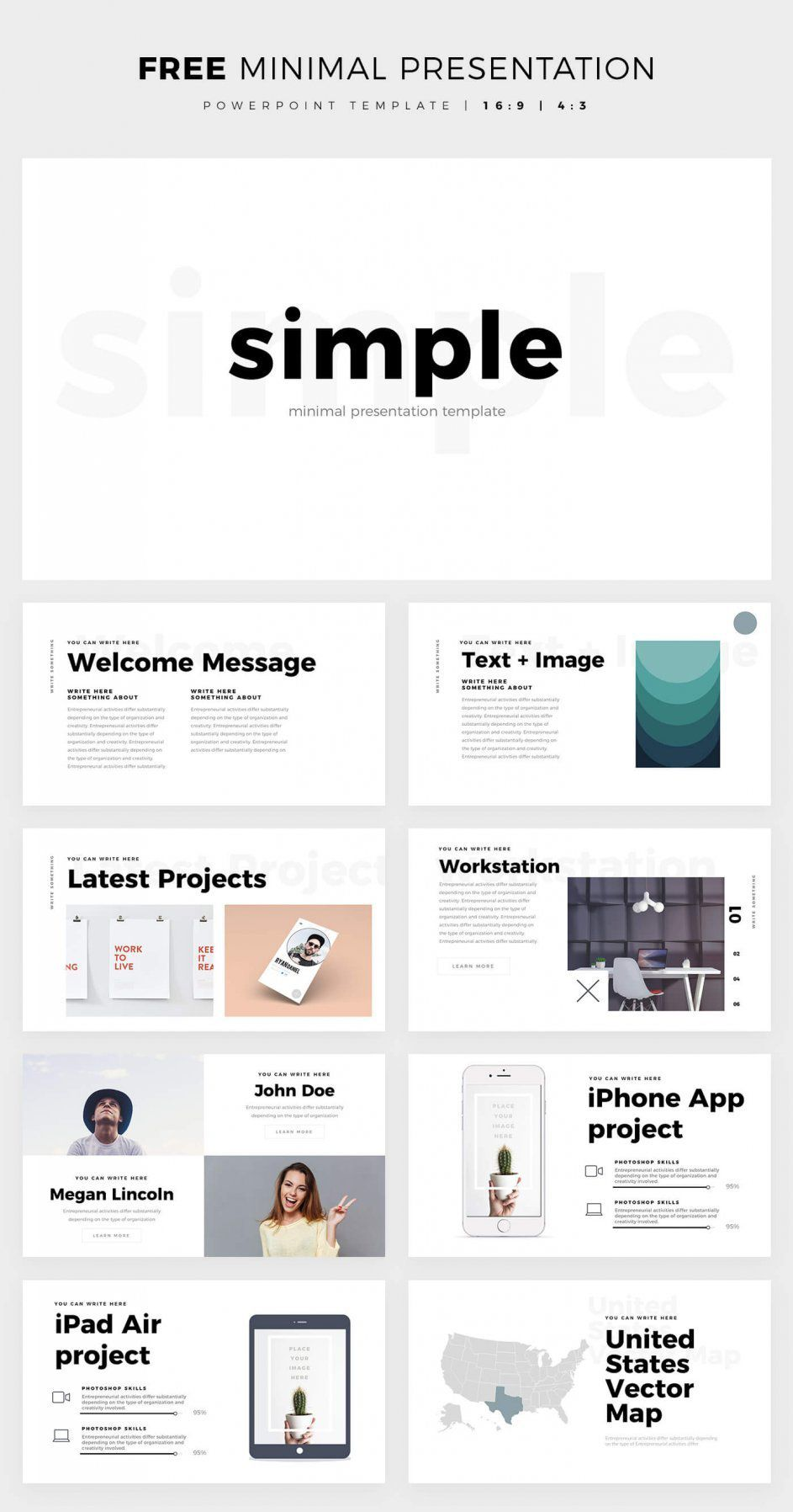 simple and clean powerpoint template - free ppt theme | design, Modern powerpoint