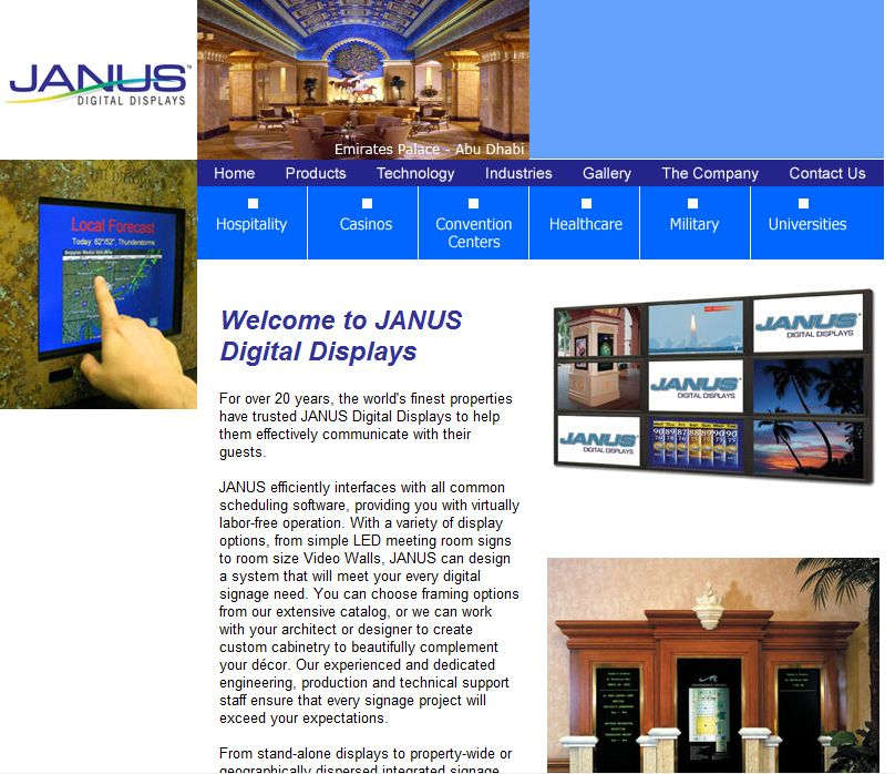 Images Incorporate With Style For Janus Digital Displays Portfolio Web Design Web Design Technology Industry