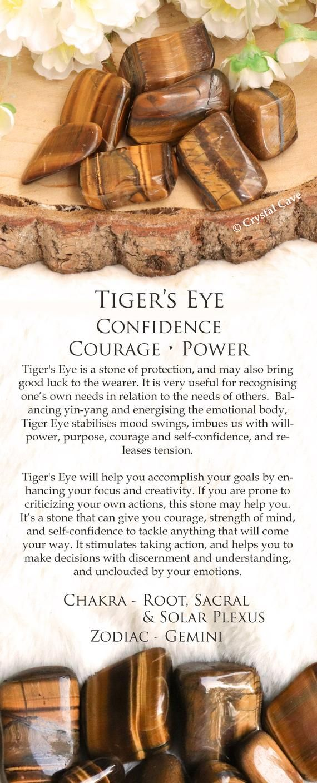 Photo of Tiger's Eye Crystal – Tumbled Stone – Cuddle Stone – Gemstone / For Courage, Strength, Self-Confidence / Zodiac Gemini Root Sacral Chakra
